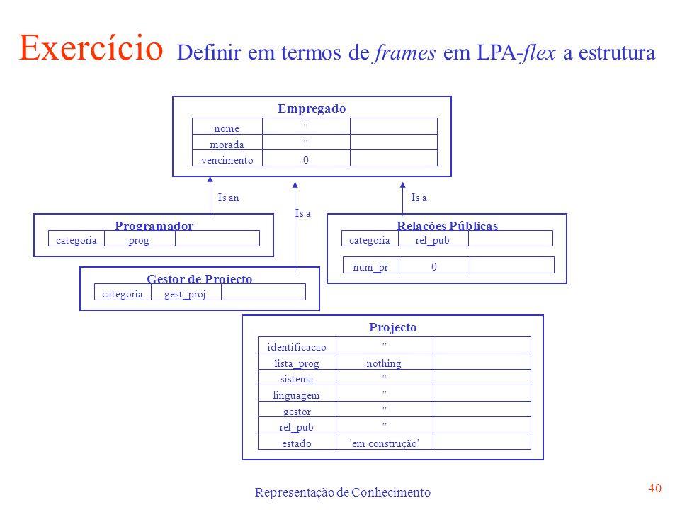 Representação de Conhecimento 41 frame empregado default nome is and default morada is and default vencimento is 0.