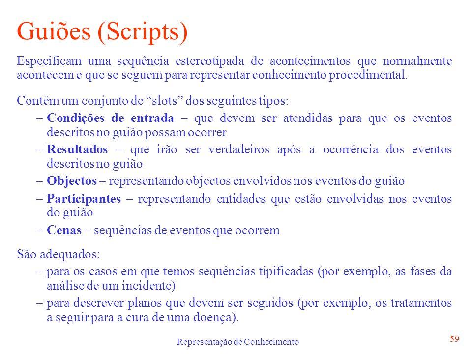 Representação de Conhecimento 60 Guiões (Scripts) Participantes: cliente, empregado, dono,...