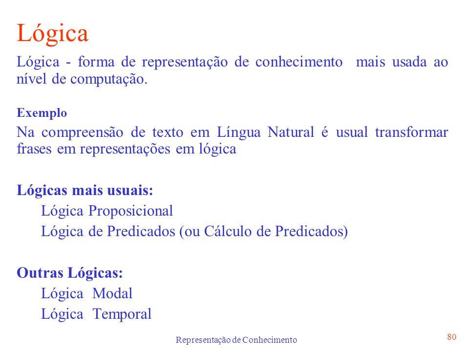 Representação de Conhecimento 81 Lógica Em Lógica os símbolos representam conhecimento e os operadores são aplicados aos símbolos para dar origem a raciocínios lógicos