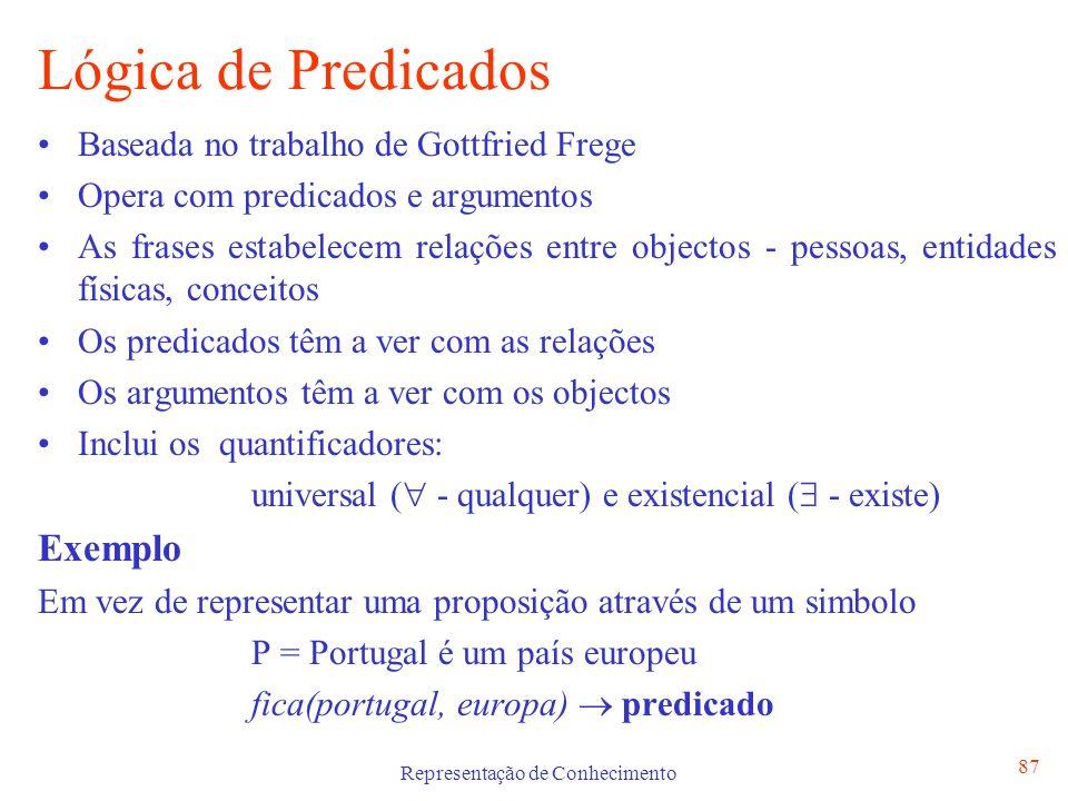 Representação de Conhecimento 88 Símbolos da Lógica de Predicados Constantes - usadas para designar objectos ou propriedades dos predicados Ex.