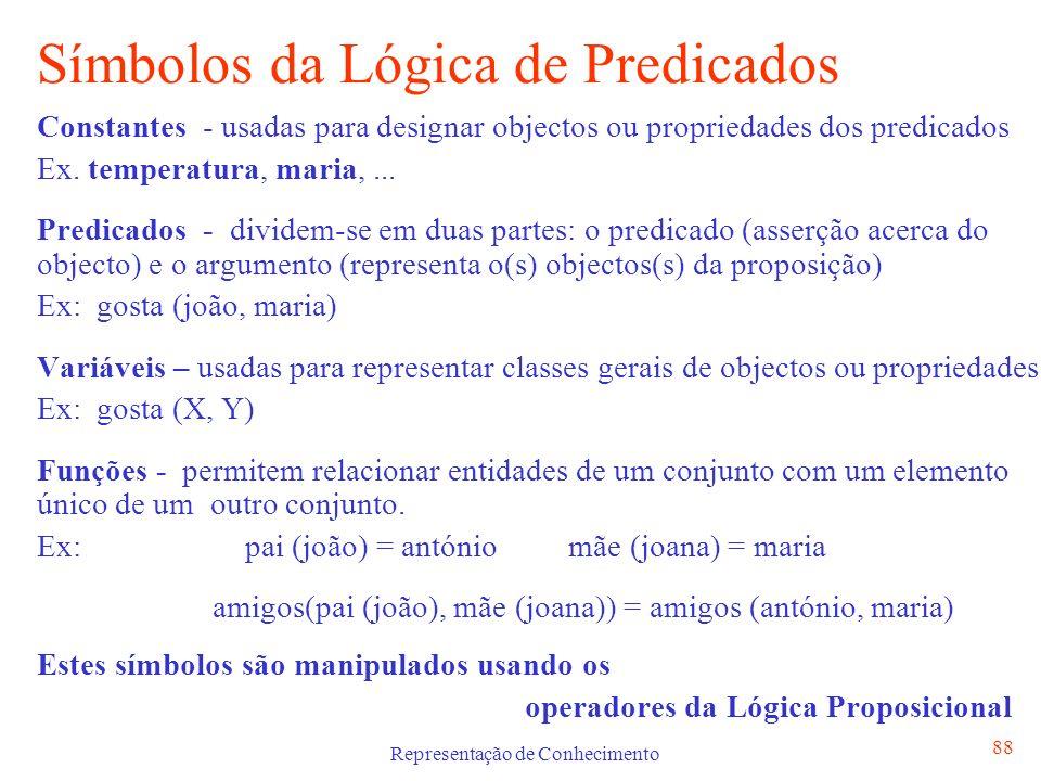 Representação de Conhecimento 89 Representação de Frases em Lógica de Predicados Todas as crianças gostam de gelados C [criança(C) gosta(C, gelado)] Há um oceano que banha Portugal O [oceano(O) banha(O,portugal)] Algumas aves migram A [ave(A) migra(A)]
