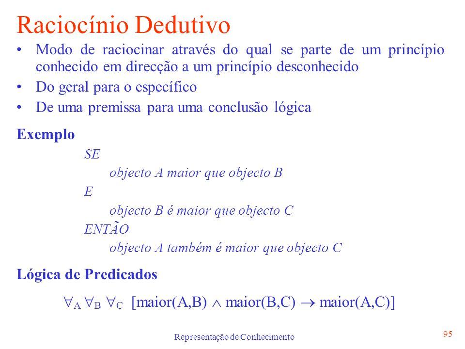 Representação de Conhecimento 96 Raciocínio Indutivo A Indução é definida como o modo de raciocinar a partir de factos particulares na direcção de uma conclusão geral.