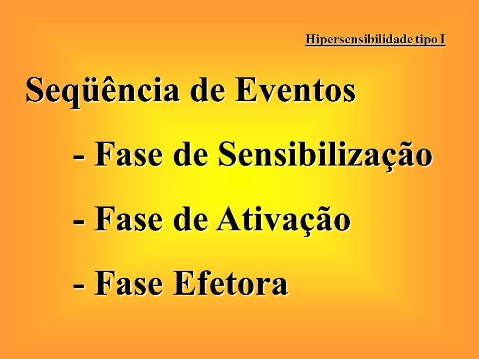 Seqüência de Eventos - Fase de Sensibilização - Fase de Ativação - Fase Efetora Hipersensibilidade tipo I