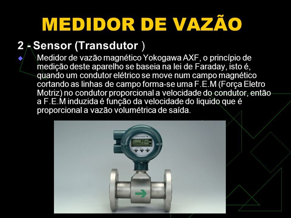 MEDIDOR DE VAZÃO 3 - Conformador Este medidor já possui um amplificador integrado a seu circuito.