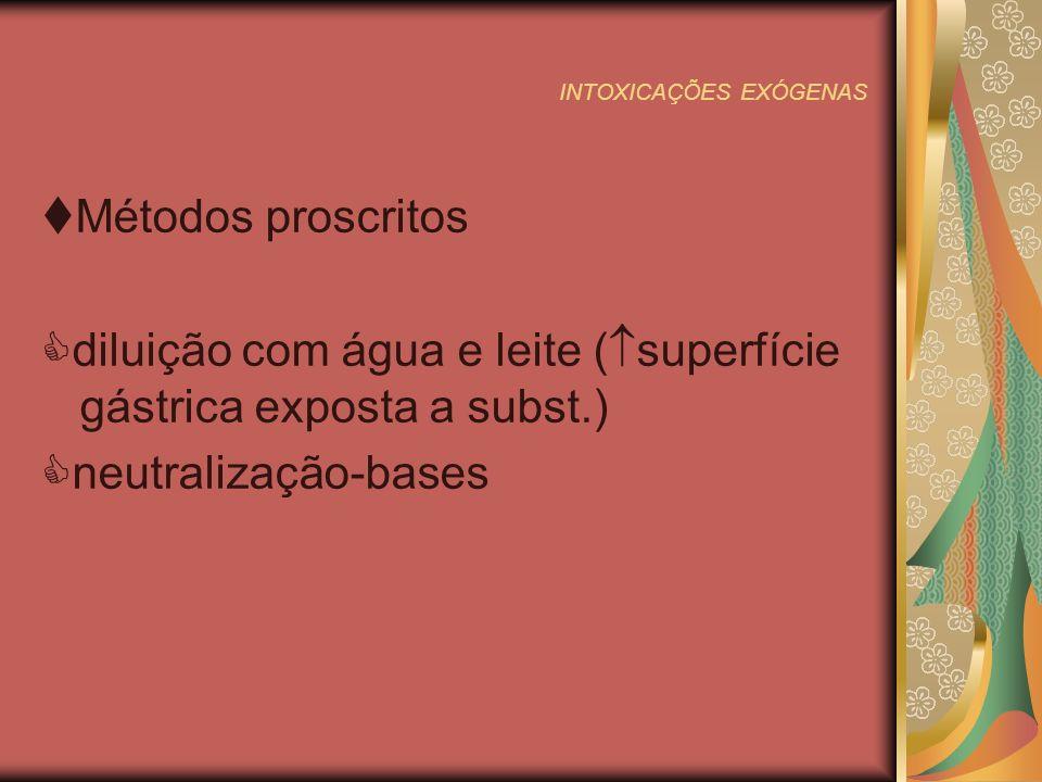 INTOXICAÇÕES EXÓGENAS 2º passo:Aumentar a excreção do tóxico já absorvido a)Diurese forçada p/ produção de poliúria Diuréticos:furosemida (2-3mg/kg IM/EV),pode usar manitol 10ml/kg EV Alcalinização:int.por salicilatos e barbitúricos.Bic.Na 2 mEq/kg diluído em soro EV em 3h b)Diálise(peritoneal, hemodiálise,hemoperfusão) Indicações clínicas: deterioração clínica coma prolongado distúrbios hidrol.graves acidose metábolica grave insuf.renal com complicações tóxico circulante é metabolizado em derivado perigoso intoxicação por: ac.bórico,,anfetaminas,aspirina,atb,calcio,estricnina,barbitúricos, fluoretos,idrato de coral,iodeto,isoniazida,potássio,tocianatos
