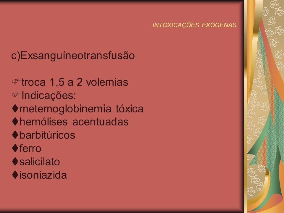 INTOXICAÇÕES EXÓGENAS 3º passo: Utilizar antídotos e antagonistas TÓXICOANTÍDOTODOSAGEM Acetoaminofenoacetilocisteína140 mg/kg VO-70mg/kg 4/4h 3d Organosfosorados, carbamatos Atropina,pralidoxime0,01-0,05 mg/kg/dose EV 10 em 10 min/20-40mg EV Metemoglobineminas,sulfona s Azul-de-metileno,vit.