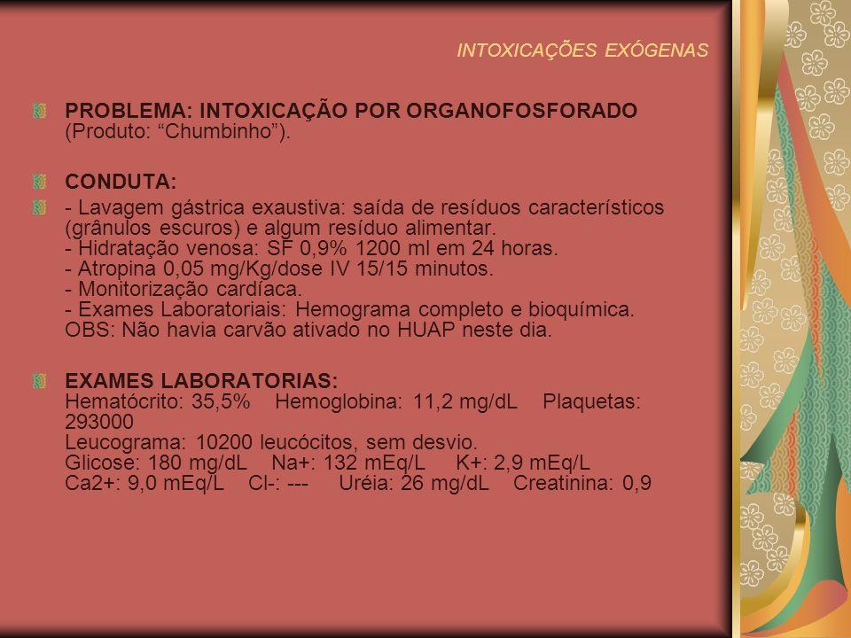 INTOXICAÇÕES EXÓGENAS EVOLUÇÃO: Após 6 h de evolução com atropina 0,05 mg/Kg/dose IV 30/30 min, a criança apresentava miose, boca e pele secas e alucinações (Sinais de atropinização).