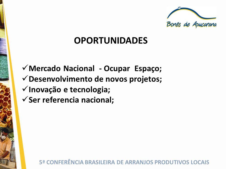 5ª CONFERÊNCIA BRASILEIRA DE ARRANJOS PRODUTIVOS LOCAIS AMEAÇAS Produtos importados; Custo e escassez de mão de obra; Falta união do setor a nível nacional.