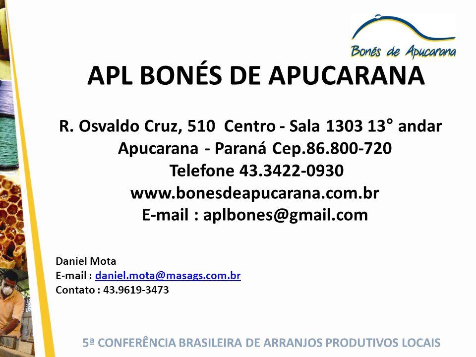 5ª CONFERÊNCIA BRASILEIRA DE ARRANJOS PRODUTIVOS LOCAIS Muito Obrigado, Governança do APL Bonés de Apucarana.