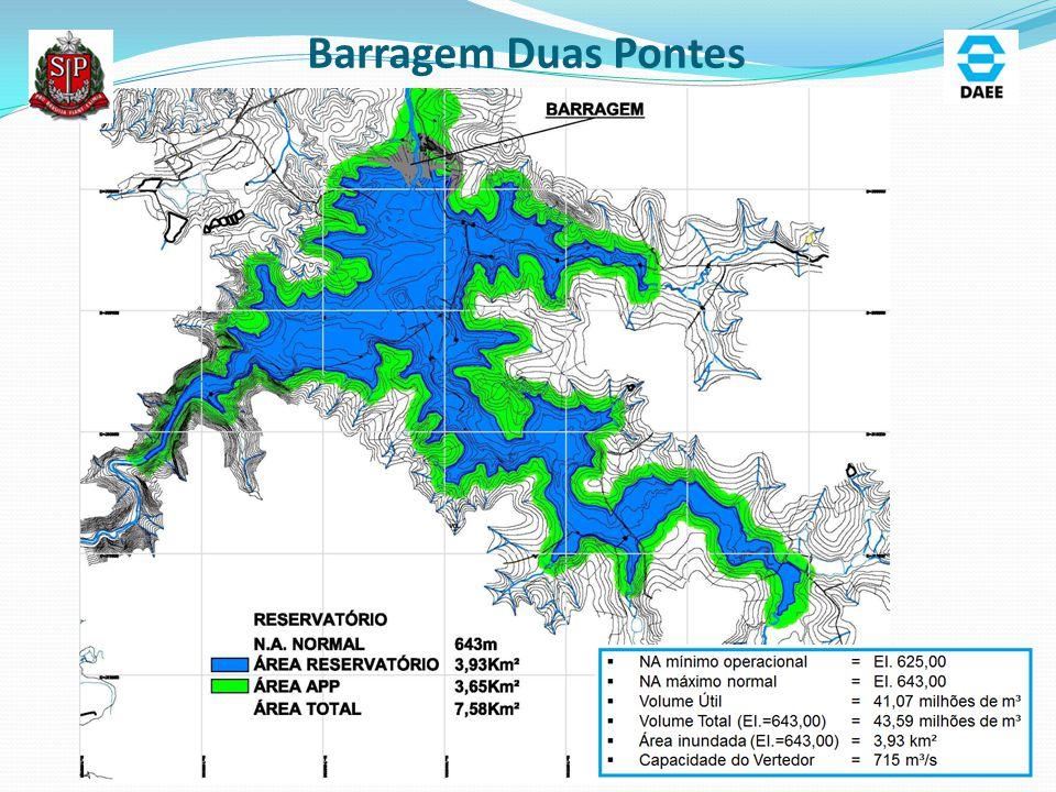 Barragem Duas Pontes – Arranjo Geral Vertedor: 60m de largura Carga Máxima: 4 m Q= 715 m³/s TR 10.000 anos