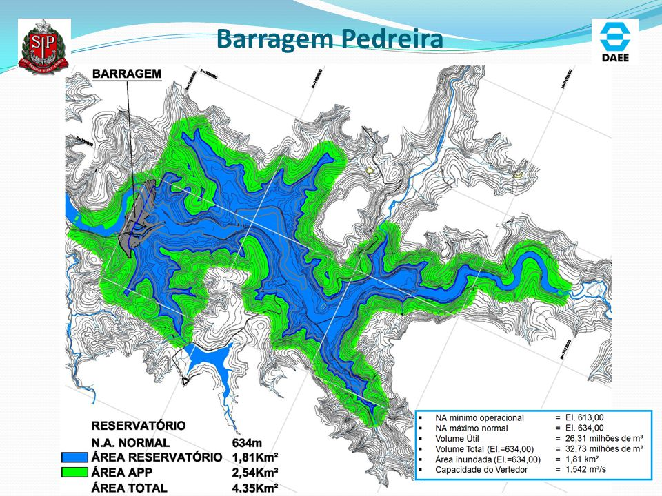 Barragem Pedreira-Arranjo Geral Vertedor Livre tipo Escada Q = 1.542 m³/s TR 10.000 anos Tipo de Barragem: Solo Enrocamento Altura: 50 m Tomada D'Água Seletiva Vazão Ambiental: Q = 2,80 m³/s Quantitativos Principais: Aterro: 2.328.000 m³ Escavação: 652.000 m³ Concreto:180.000 m³