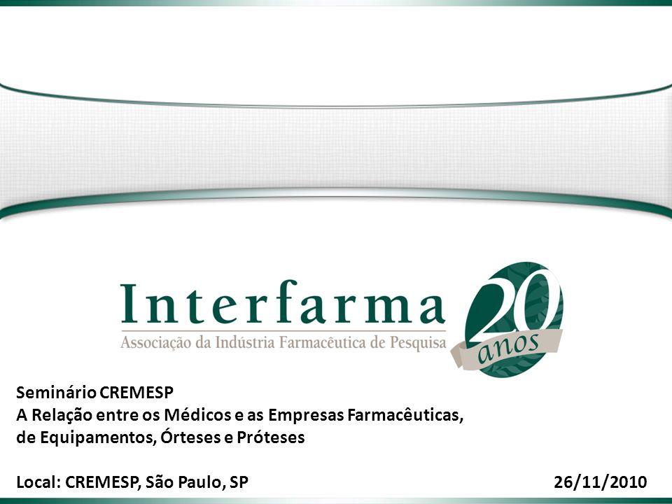 2 2 Associação da Indústria Farmacêutica de Pesquisa O que é a Interfarma: É uma entidade que representa empresas e pesquisadores nacionais ou estrangeiros responsáveis por promover e incentivar o desenvolvimento da indústria de pesquisa científica e tecnológica no Brasil, em especial para a produção de insumos farmacêuticos, matérias-primas, medicamentos e correlatos.