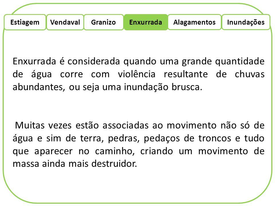 EstiagemEnxurradaVendaval Alagamentos Granizo Inundações Em 10 de março de 2012 tivemos como exemplo a cidade de São Lourenço do Sul que sofreu grandes danos, a população perdeu a maior parte dos seus bens onde metade da zona urbana ficou de baixo d'água, nesse evento ocorreu mortes também.