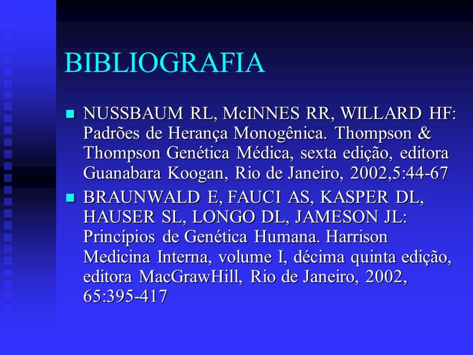 Bibliografia COTRAN RS, KUMAN V, ROBBINS SL, SCHOEN FJ: Doenças Genéticas.Robbins Patologia Humana e Funcional, sexta edição, editora Guanabara Koogan, Rio de Janeiro, 2000, 6:124-167.