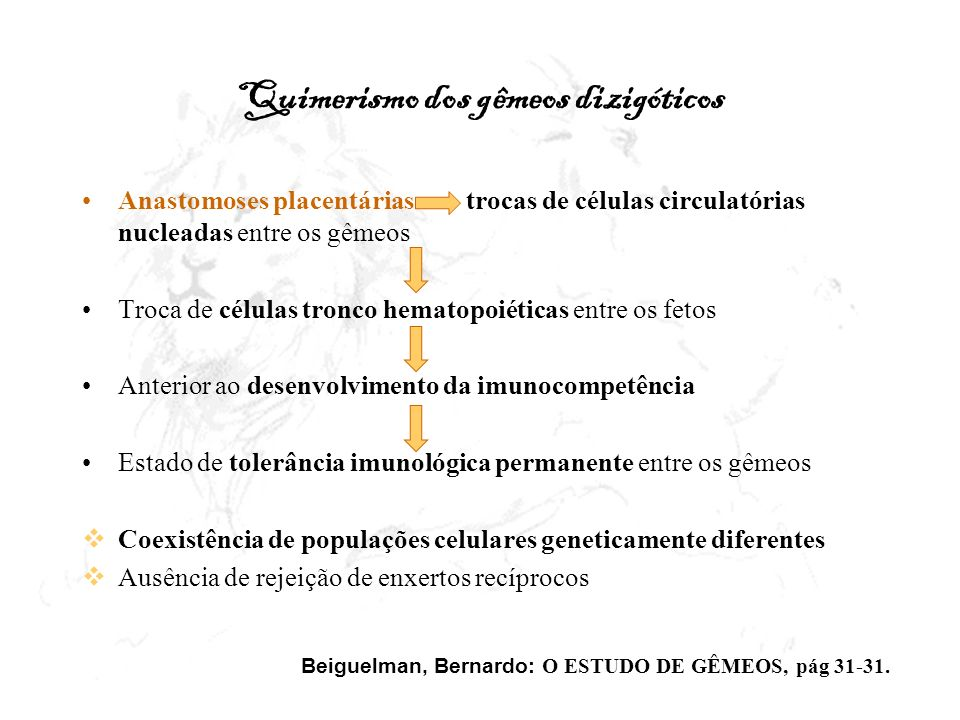 O Quimerismo dos gêmeos dizigóticos Década de 50: heterogeneidade na população de hemácias quanto aos grupos sangüíneos de gêmeos DZ Populações de hemácias quanto aos grupos ABO ou Rh 1963: Demonstração citogenética por Chown e col.