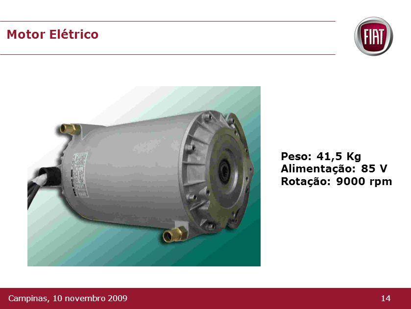 Motor Elétrico Peso: 41,5 Kg Alimentação: 85 V Rotação: 9000 rpm 14Campinas, 10 novembro 2009
