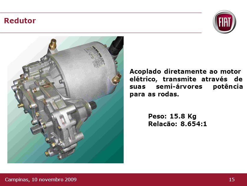 Peso: 15.8 Kg Relacão: 8.654:1 Redutor Acoplado diretamente ao motor elétrico, transmite através de suas semi-árvores potência para as rodas.
