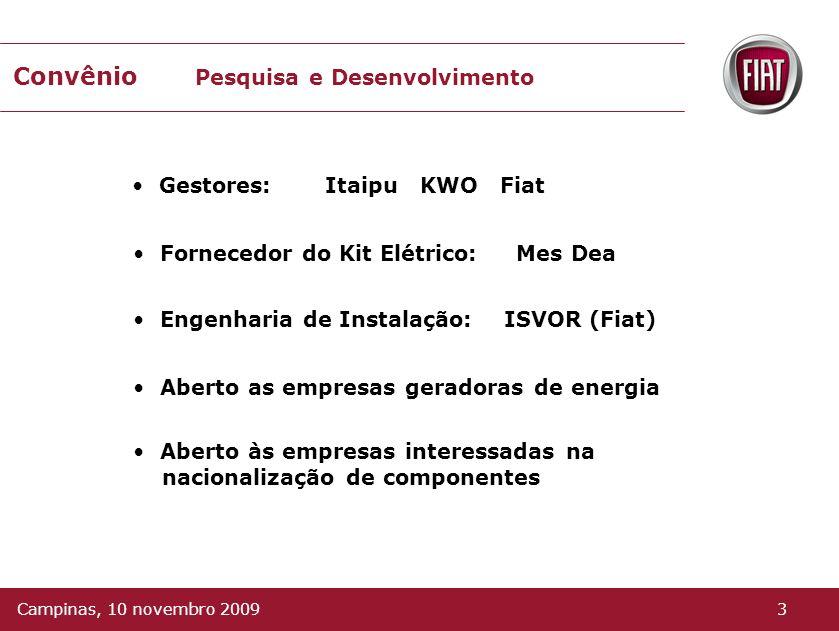 Convênio Pesquisa e Desenvolvimento Gestores: Itaipu KWO Fiat Fornecedor do Kit Elétrico: Mes Dea Engenharia de Instalação: ISVOR (Fiat) Aberto as empresas geradoras de energia Aberto às empresas interessadas na nacionalização de componentes 3Campinas, 10 novembro 2009