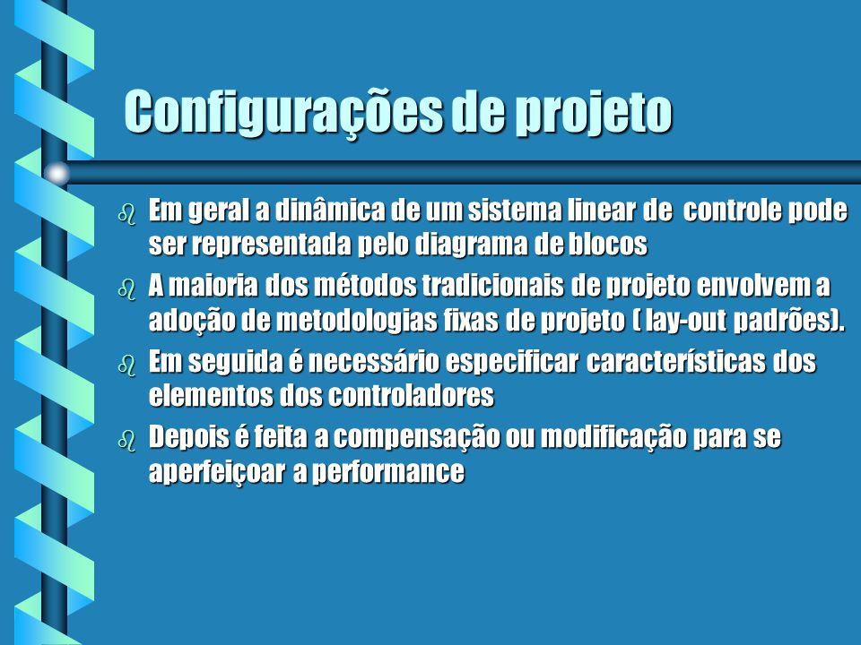 Tipos de Configurações de projeto Compensação Série É a mais comum, é também chamada de cascata, o controlador é colocado em série com o processo a ser controlado