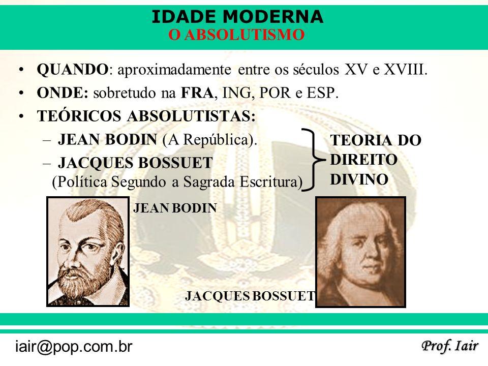 IDADE MODERNA Prof.Iair iair@pop.com.br O ABSOLUTISMO –NICOLAU MAQUIAVEL (O Príncipe).