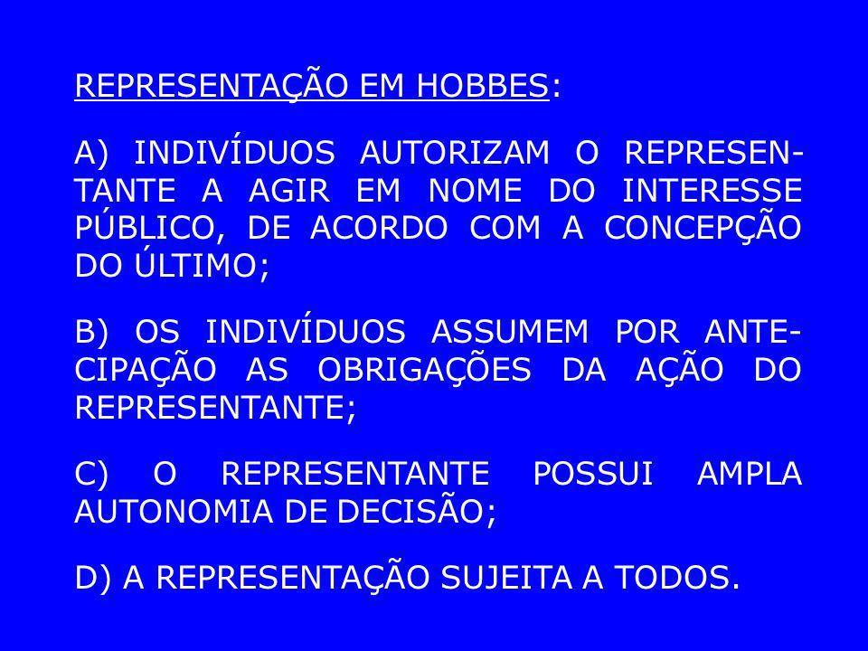 BOBBIO: REPRESENTAÇÃO SIGNIFICA A POSSIBILIDADE DE CONTROLAR O PODER, POR QUEM NÃO PODE EXERCÊ-LO PESSOAL- MENTE.
