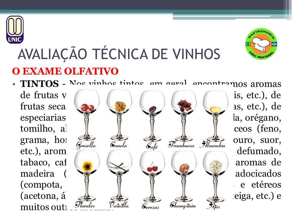 AVALIAÇÃO TÉCNICA DE VINHOS O EXAME OLFATIVO 3.3 Aromas Terciários Representam, na realidade, o conjunto dos aromas anteriores, somados aos aromas mais complexos, originados durante o amadurecimento do vinho na barrica de madeira e/ou ao seu envelhecimento na garrafa.