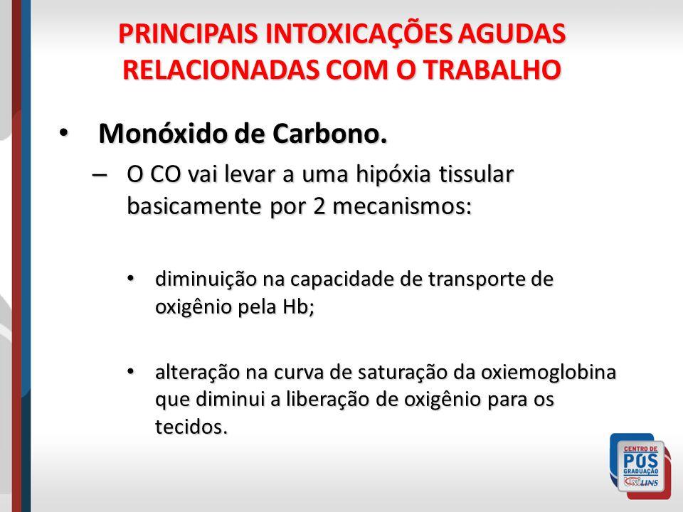 PRINCIPAIS INTOXICAÇÕES AGUDAS RELACIONADAS COM O TRABALHO Monóxido de Carbono.