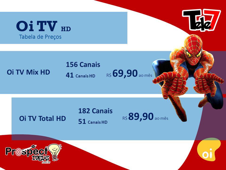 Tabela de Preços Oi TV Mix HD 156 Canais 41 Canais HD R$ 69,90 ao mês Oi TV HD Oi TV Total HD 182 Canais 51 Canais HD R$ 89,90 ao mês