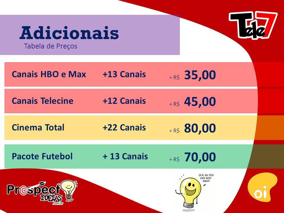 Tabela de Preços Canais HBO e Max+13 Canais + R$ 35,00 Adicionais Canais Telecine+12 Canais + R$ 45,00 Cinema Total+22 Canais + R$ 80,00 Pacote Futebol+ 13 Canais + R$ 70,00