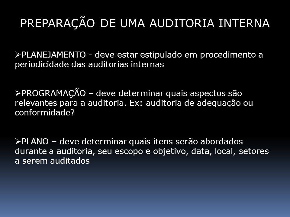 NOTIFICAÇÃO E AGENDA - a área a ser auditada deve receber com antecedência, a notificação da auditoria, que deverá conter todos os itens do Plano de auditoria CHECK LIST - o auditor elabora um check list com base nos procedimentos e no SIQ-Construtoras PREPARAÇÃO DE UMA AUDITORIA INTERNA