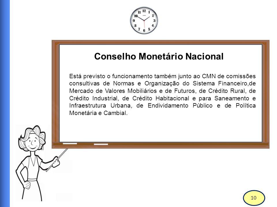 11 Conselho Monetário Nacional O Banco Central do Brasil (BC ou BACEN e, mais atualmente, BCB) é autarquia federal integrante do Sistema Financeiro Nacional, sendo vinculado ao Ministério da Fazenda.