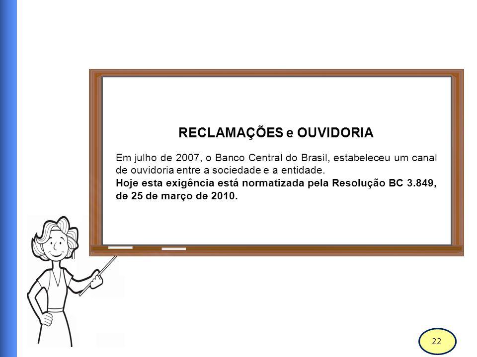 23 Banco Central do Brasil RECLAMAÇÕES e OUVIDORIA Principais exigências da resolução: Divulgar a existência de uma ouvidoria, bem como de informações completas sobre a sua finalidade e formas de utilização;