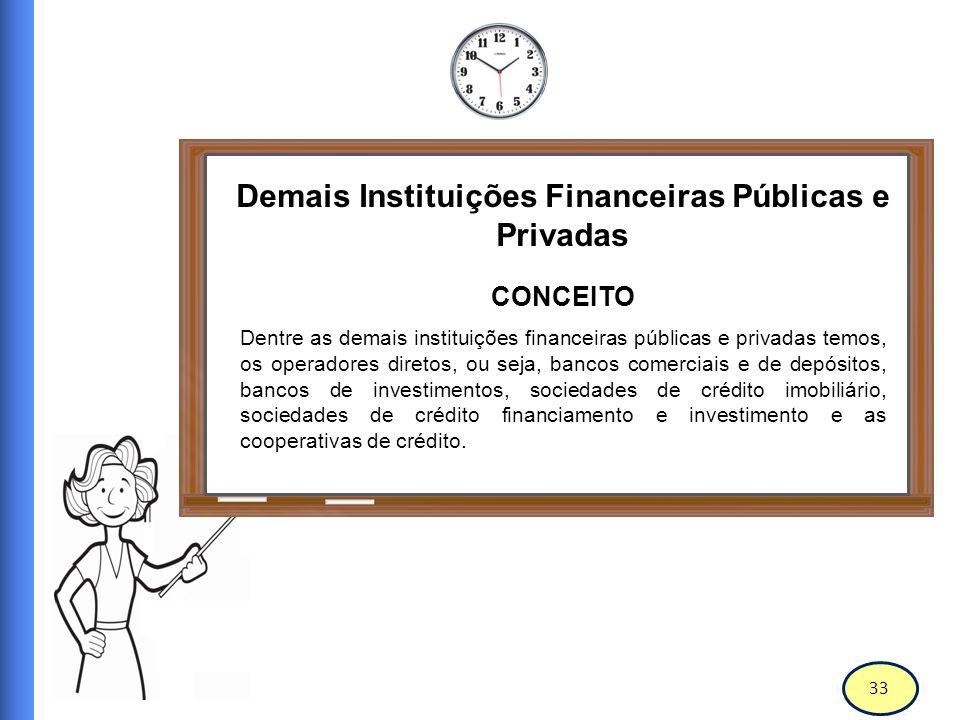 34 Demais Instituições Financeiras Públicas e Privadas Conceito A Lei 4.595/1964 dispõe sobre a política e as instituições monetárias, bancárias e creditícias, cria o Conselho Monetário Nacional e da outras providencias.