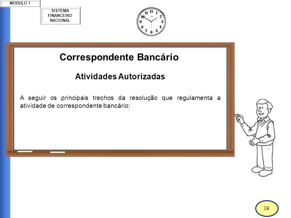 39 SISTEMA FINANCEIRO NACIONAL MODULO I Correspondente Bancário Atividades Autorizadas Art.