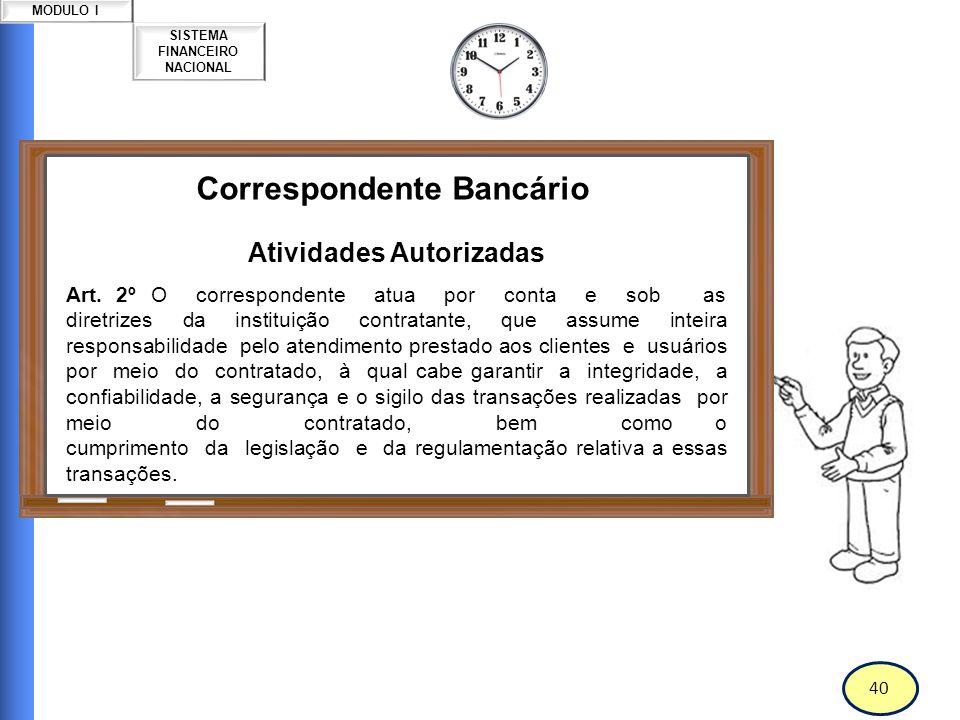 41 SISTEMA FINANCEIRO NACIONAL MODULO I Correspondente Bancário Atividades Autorizadas Art.