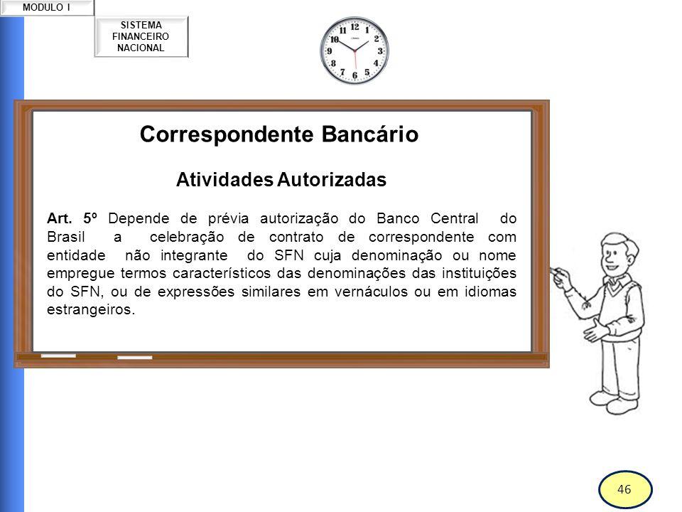 47 SISTEMA FINANCEIRO NACIONAL MODULO I Correspondente Bancário Atividades Autorizadas Art.