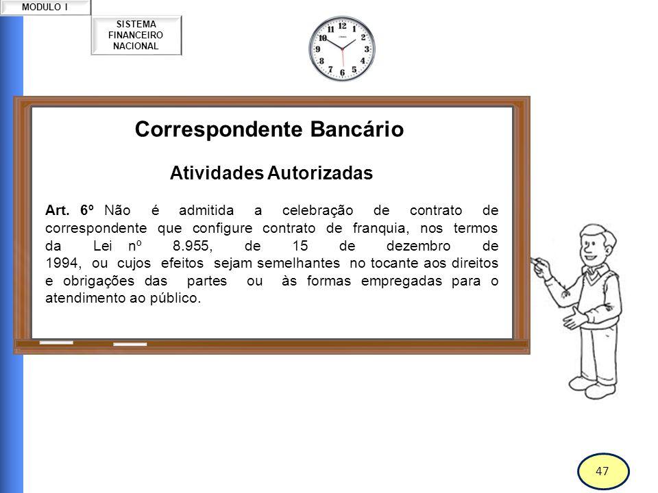 48 SISTEMA FINANCEIRO NACIONAL MODULO I Correspondente Bancário Atividades Autorizadas Art.