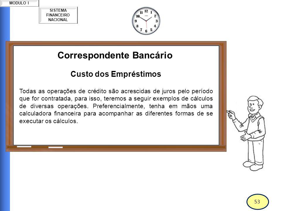 54 SISTEMA FINANCEIRO NACIONAL MODULO I Correspondente Bancário Custo dos Empréstimos Capital, Principal ou Valor Presente: Valor que está sendo emprestado ou investido.