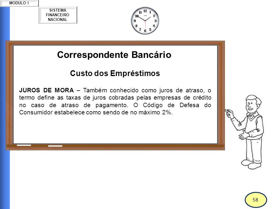 59 SISTEMA FINANCEIRO NACIONAL MODULO I Correspondente Bancário Custo dos Empréstimos JUROS NOMINAIS – Inclui a correção monetária do valor emprestado.