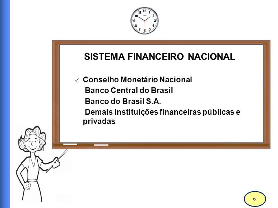 7 Conselho Monetário Nacional O Conselho Monetário Nacional (CMN) é o órgão deliberativo máximo do Sistema Financeiro Nacional.