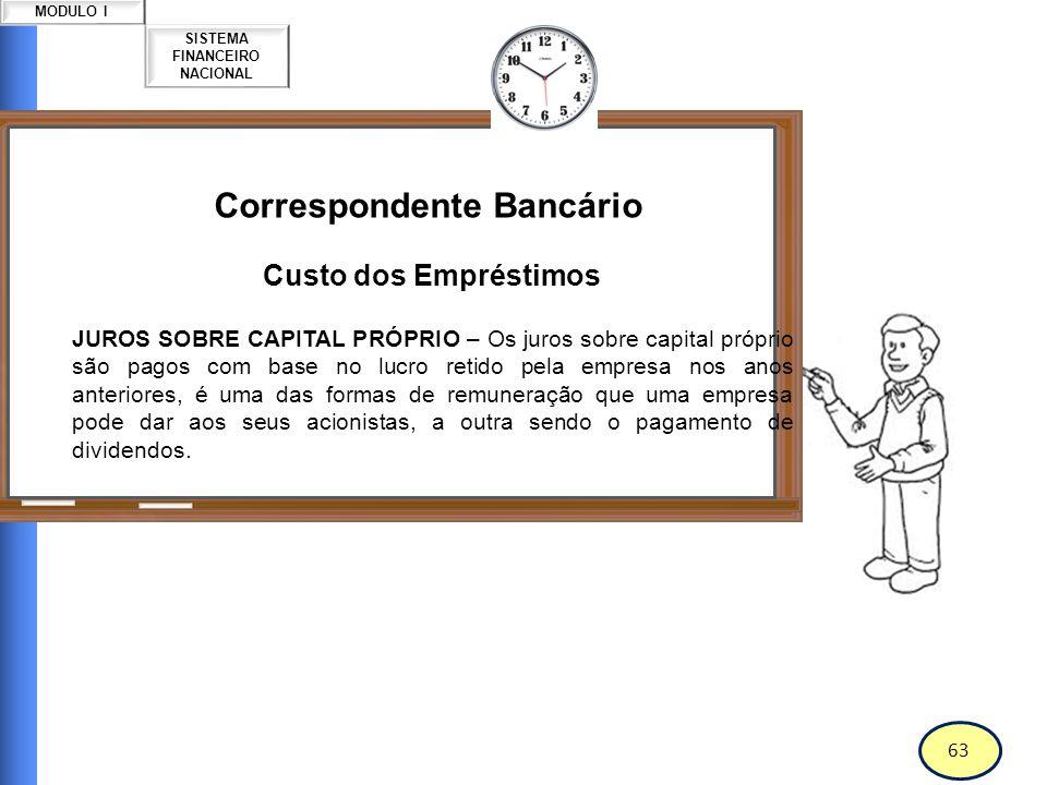 64 SISTEMA FINANCEIRO NACIONAL MODULO I Correspondente Bancário Custo dos Empréstimos O que é TAXA?