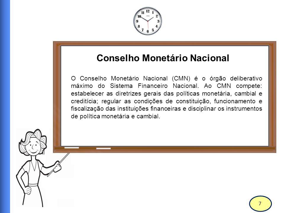 8 Conselho Monetário Nacional O CMN é constituído pelo Ministro de Estado da Fazenda (Presidente), pelo Ministro de Estado do Planejamento e Orçamento e pelo Presidente do Banco Central do Brasil (Bacen).