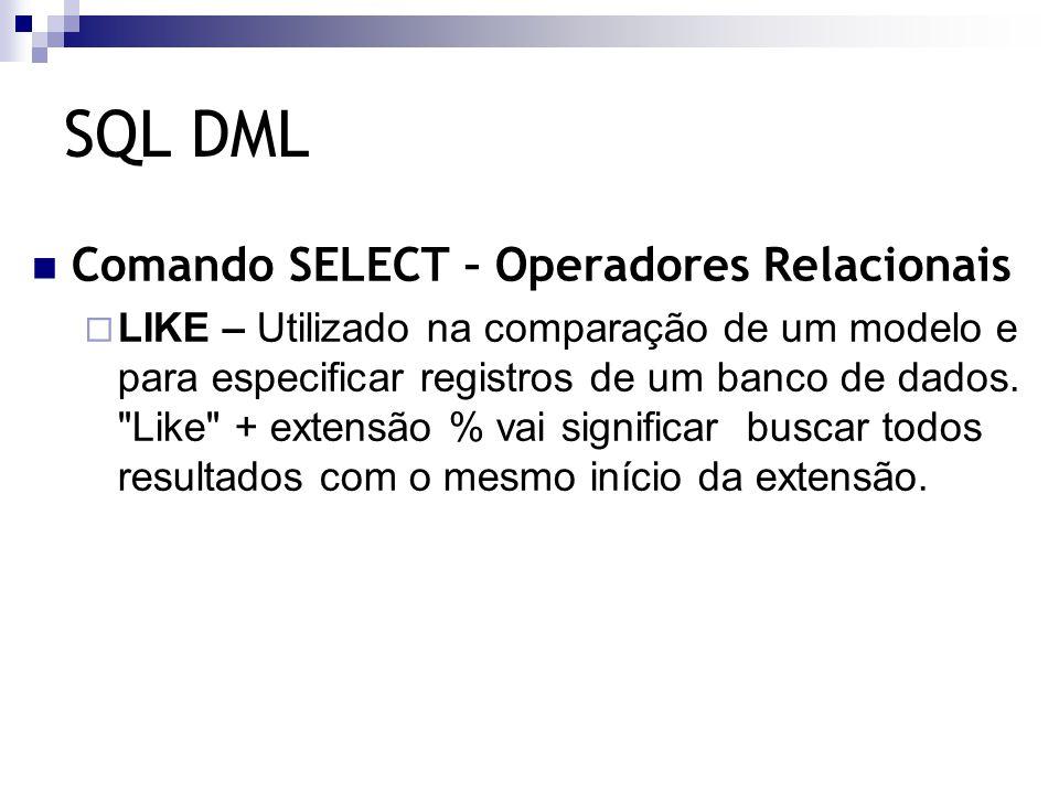 SQL DML Comando SELECT – Funções de Agregação  AVG – Utilizada para calcular a média dos valores de um campo determinado.