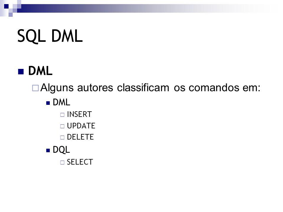 SQL DML Comando INSERT  Utilizado para inserir informações em uma tabela