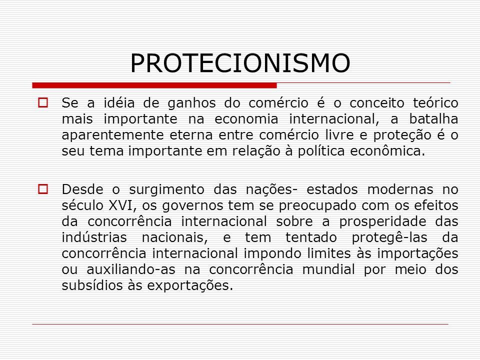 PROTECIONISMO A missão comum mais consistente da economia internacional tem sido analisar os efeitos dessas chamadas políticas protecionistas- e normalmente, mas não, criticar o protecionismo e mostrar as vantagens do comércio internacional mais livre.
