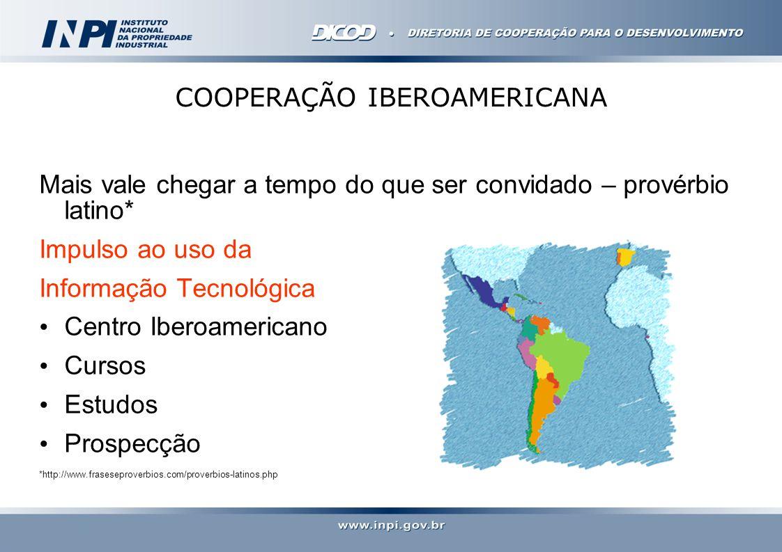 VISÃO 2022 BIÊNIO 2013/2014 - PAÍSES COM OS QUAIS MANTEMOS, ATUALMENTE ATIVIDADES DE COOPERAÇÃO TÉCNICA AMÉRICA LATINA:Argentina, Chile, Equador, Uruguai, Bolívia, México, Colômbia, Peru, El Salvador, República Dominicana, Paraguai, Suriname e Cuba ÁFRICA:ARIPO, Angola e Nigéria ÁRABES: Em negociação com Arábia Saudita e atividades de cooperação com Omã em andamento.