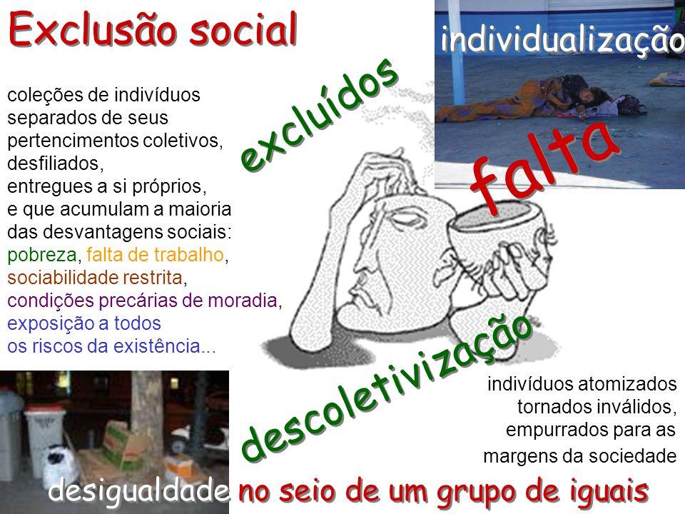 concepção negativa e abstrata dos fenômenos de dissolução social Exclusão...