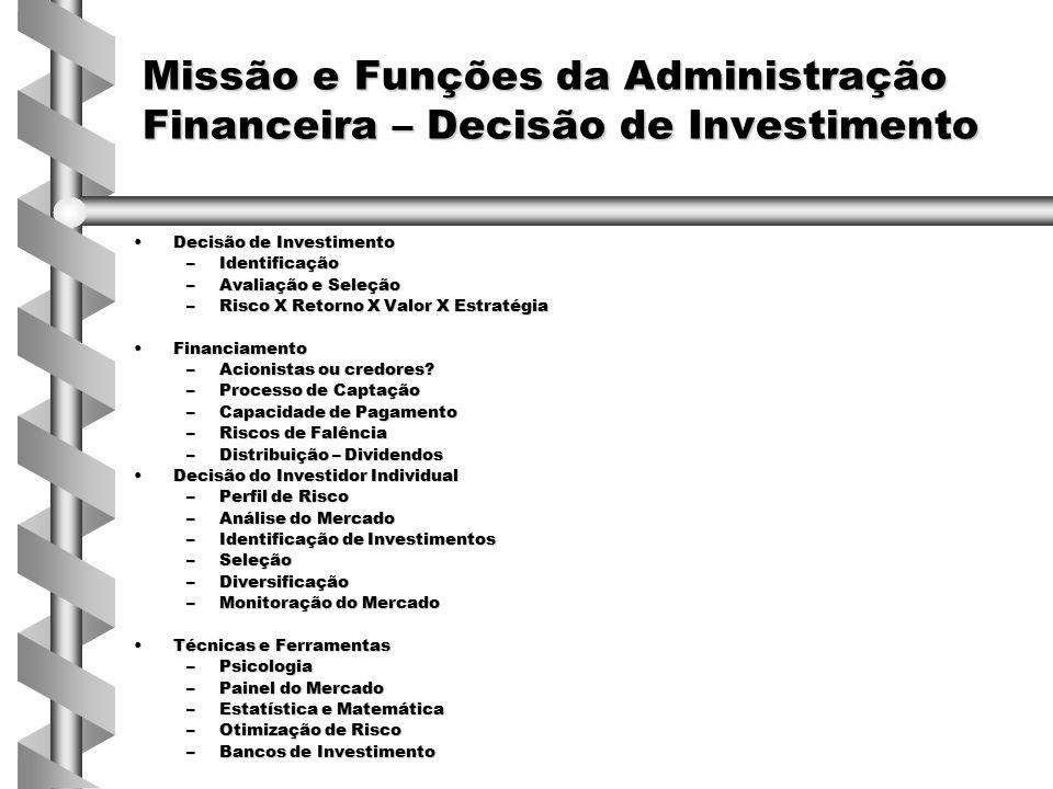 Decisões de Investimento Corporativo Decisão de Investimento (Administrador Financeiro)Decisão de Investimento (Administrador Financeiro) –Riscos do Negócio e Estratégia –Oportunidades –Seleção de projetos –Gestão de recursos –Geração de valor – Portfolio de ativos FerramentasFerramentas –SWOT –Marketing –Orçamento de Capital –Fluxo de Caixa –Administração Financeira Estrutura de capitalEstrutura de capital –Mix de passivos –Custo Financeiro –Política de distribuição –Conflitos –Custos de falência –Decisão de investimento Ferramentas e TécnicasFerramentas e Técnicas –Matemática Financeira –Mercado Financeiro: Produtos e Serviços –Relacionamento e Reciprocidade –Estruturação de Operações