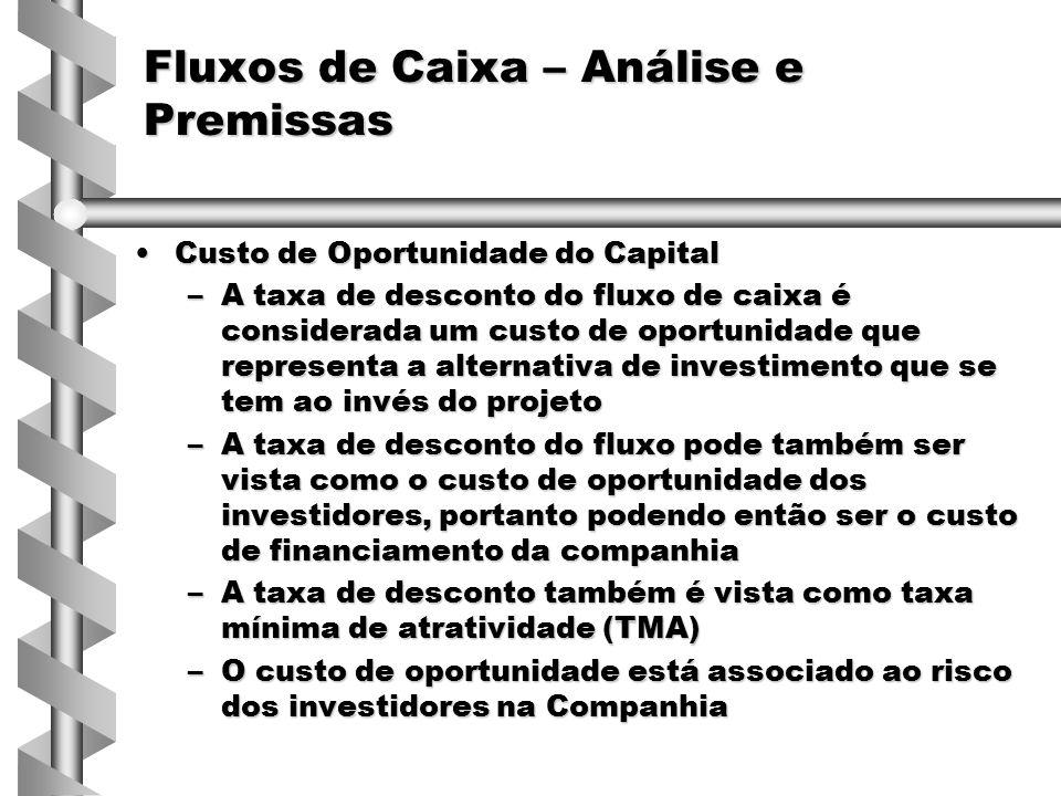 Necessidades de Capital de GiroNecessidades de Capital de Giro –O projeto deve considerar nos fluxos as necessidades de caixa decorrentes dos requerimentos de itens como estoques, crédito a clientes, etc.
