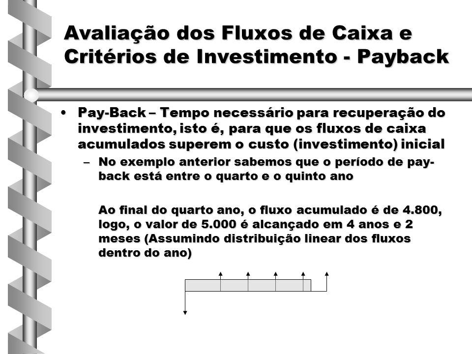 Para escolha de um projeto com base no Payback, a empresa pode escolher um período de corte, ou selecionar com base nos projetos de menor PaybackPara escolha de um projeto com base no Payback, a empresa pode escolher um período de corte, ou selecionar com base nos projetos de menor Payback VantagensVantagens –Fácil compreensão –Considera a incerteza de fluxos distantes –Preferência por liquidez Falhas do Pay-backFalhas do Pay-back –Não considera o Valor do Dinheiro no Tempo –Desconsidera os fluxos após o período de corte Avaliação dos Fluxos de Caixa e Critérios de Investimento - Payback